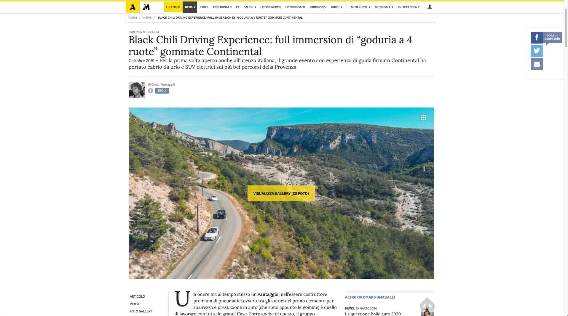 screenshot di un articolo di auotmoto.it