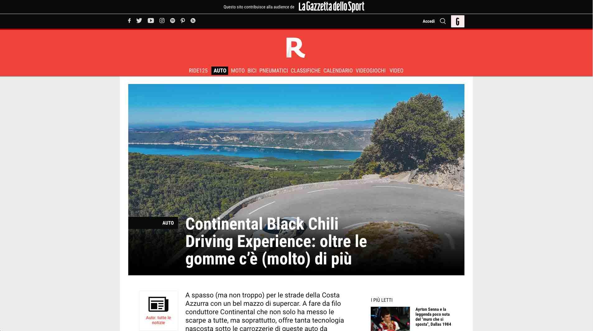 screenshot di un articolo di red-live.it