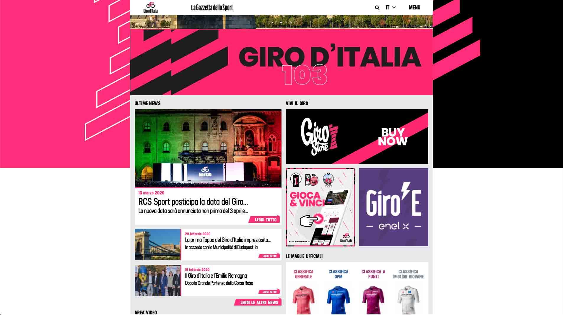 sito ufficiale giro d'italia